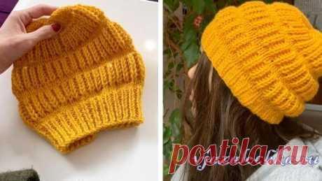 Шикарная шапка спицами с описанием для детей и взрослых от lyesi,не смотря на очень простой узор!