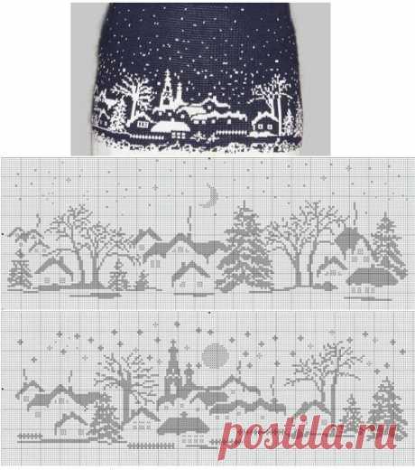 Зимние узоры для вязания и вышивки