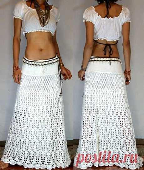 Белая длинная юбка крючком схема. Юбки ажурные связаные крючком |