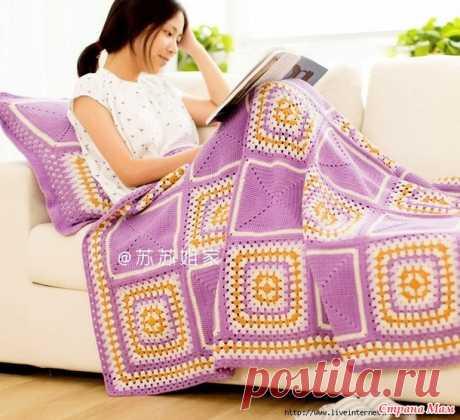 Плед и подушка из больших бабушкиных квадратов - Вязание - Страна Мам