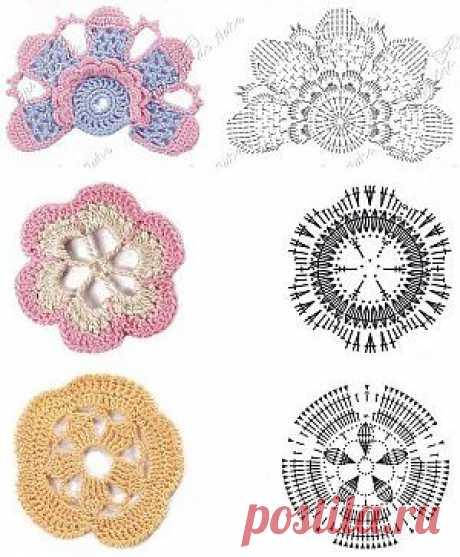 Схемы вязаных цветов крючком. | SexyCrochet.COM