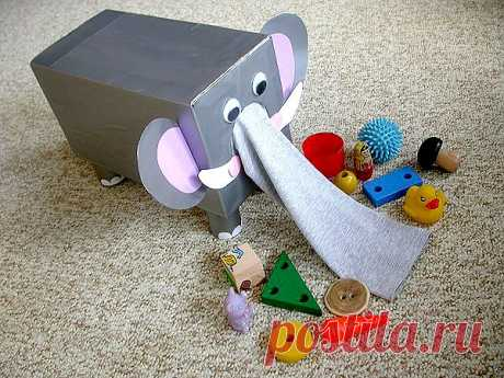 Детские поделки своими руками, изготовление игрушки слоника для детей, фото.