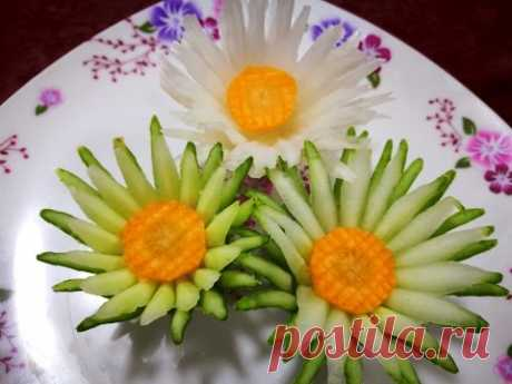 Carving Cucumber  and  Carrot  Flower- Vegetable Design Rose The art In Fruit Flower