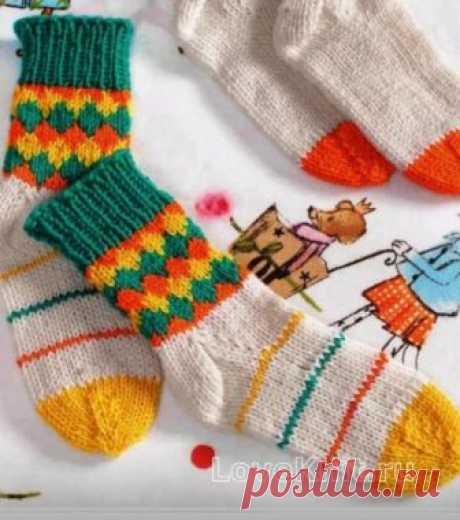 Детские носки с цветным рисунком схема