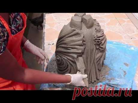 Cement Crafts Ideas/Unique with Potted plants Made from Rags and Cement.