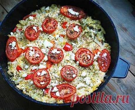 Запеканка из цветной капусты с козьим сыром.