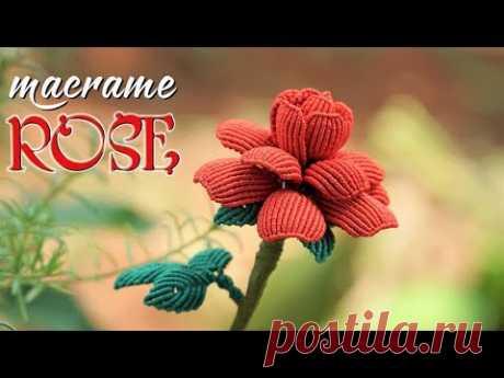 Роза в технике макраме