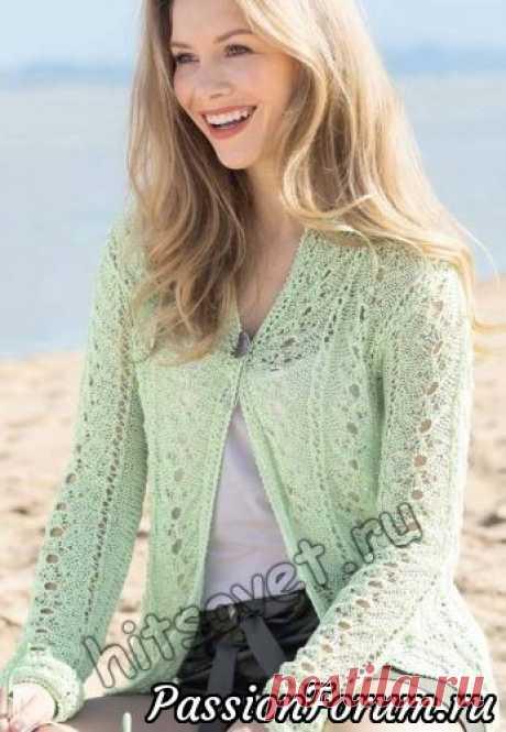 Ажурный летний жакет   Вязание для женщин спицами. Схемы вязания спицами