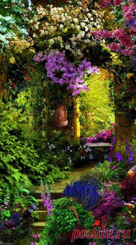 ¡El paraíso es! El jardín de flores de Entri, Provence, Francia