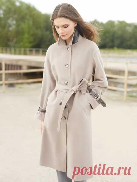 Пальто женское демисезонное цвет холодный бежевый, Пальтовая ткань, артикул 3017960p10004
