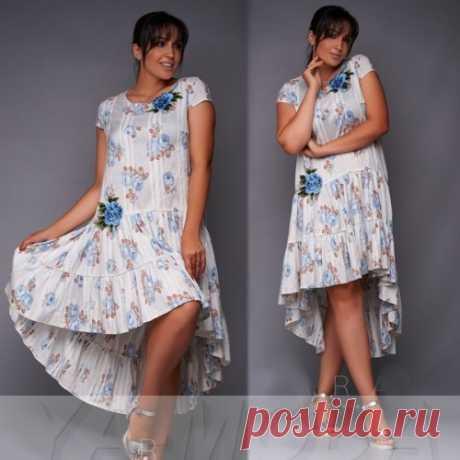 Красивое летнее платье с цветочком размер плюс : сезон лето. Скидка. Доставка.