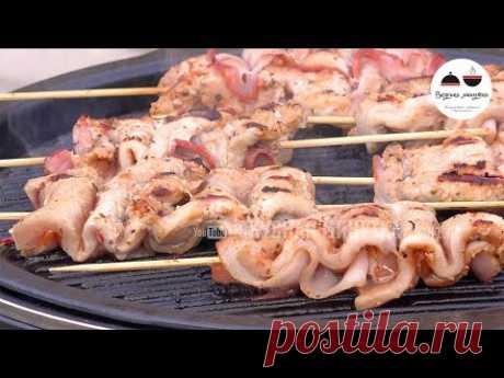 MYASNOI ̆ vyhodnoi ̆ el SHASHLIK-ARMÓNICA + los corazoncitos de gallina EN el GRILL