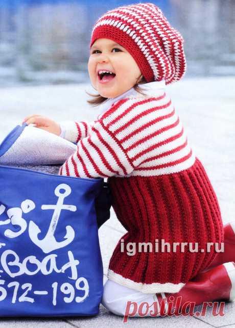 Для девочки 1,5-7 лет. Платье и шапочка в красно-белую полоску. Вязание спицами и крючком для детей