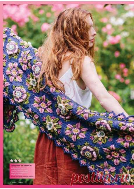 Красивый палантин связанный крючком из цветочных мотивов | Ирина Буланова | Яндекс Дзен