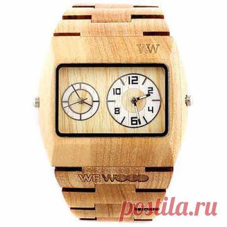 Часы Limited Edition Jupiter Beige :: WeWood ::  WeWood — флорентийская компания, занимающаяся экологически чистым производством стильных деревянных часов из благородных пород дерева. Среди продукции WeWood — часы из клена, гвуаяко, черного и красного дерева. С покупки каждых часов компания отчисляет небольшую сумму для посадки одного дерева. WeWood также не использует лаки и краски при изготовлении своей продукции, поэтому она может по праву считаться гипоаллергенной.
