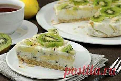Йогуртовый низкокалорийный торт с киви и бананом   Готовим вместе