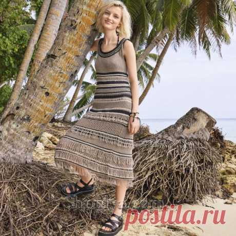 Вязаное полосатое платье с бахромой — Shpulya.com - схемы с описанием для вязания спицами и крючком