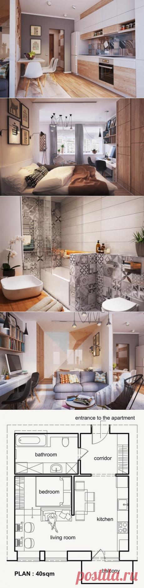 Современный интерьер студии 40 кв. м. - Дизайн интерьеров   Идеи вашего дома   Lodgers