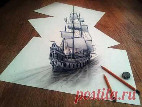 Запись создана пользователем Борисенко Денис(2 комментария) Потрясающий 3D рисунок