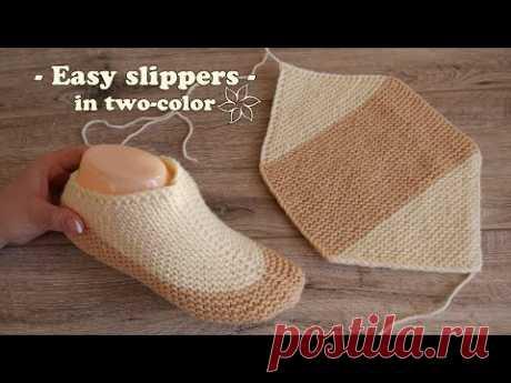Легкие двухцветные следки спицами ☀ Easy two-color slippers knitting pattern