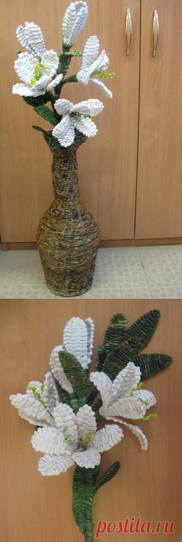 (+1) тема - МК Ветка лилии в напольной вазе. | СВОИМИ РУКАМИ