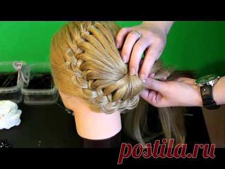 ▶ Плетение косичек - Ажурная коса с цветком из волос - YouTube