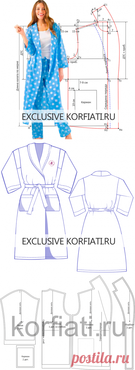 Выкройка халата от Анастасии Корфиати