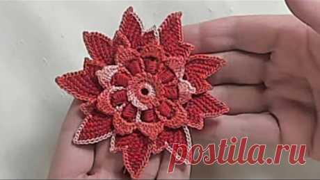 Фантазийный цветок для ирландского кружева - МК.  Irish Crochet & Tunisian Crochet, Crochet Flower
