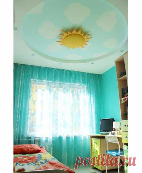 Солнышко на небосводе в комнате Тима | https://www.babyroomblog.ru/