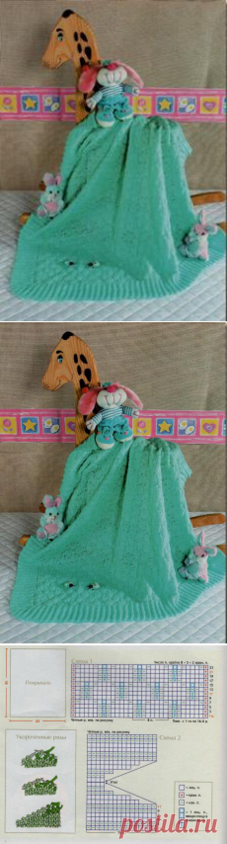 Бирюзовое детское покрывало-плед. | Плед, накидки для подушек.