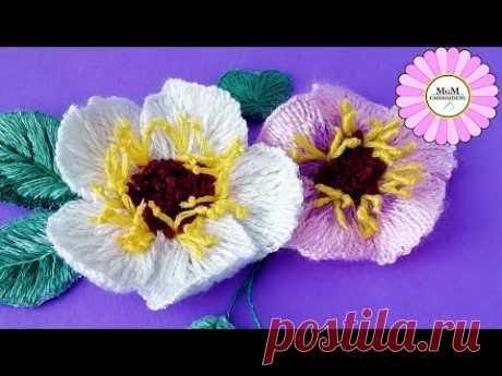 3Д вышивка| удивительный трюк|цветок из шерсти