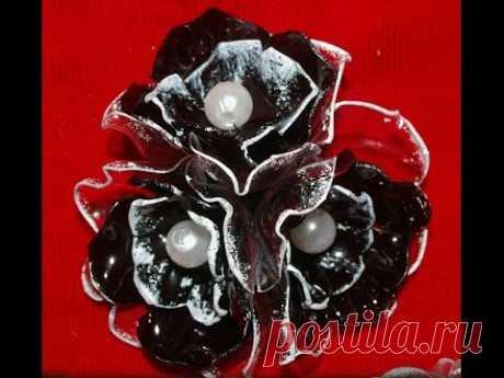 Как сделать цветы из пластика. (часть 2)  Красивые и стильные серьги и милая брошь!