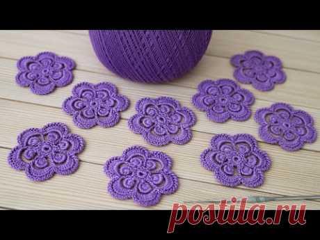ЦВЕТЫ крючком ВЯЗАНИЕ для начинающих ЦВЕТОЧКИ для ирландского кружева CROCHET Flower for beginners