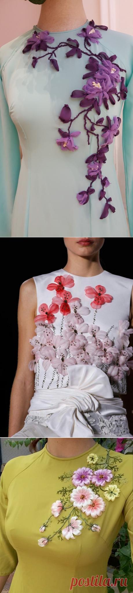 Цветочные идеи для вышивки лентами на вашей одежде: идеи