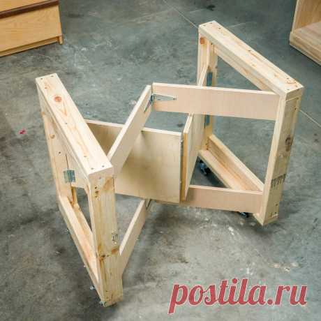 Saturday Morning Workshop: Folding Mobile Workbench Cutting List Project Plans Create the end frames Fasten the frame rails (A) to the frame stiles (B) with glue and screws. Attach the fixed supports (C) to the interior face of the stiles. Notch and attach mounting strips Notch both ends of the mounting strips (D). Glue and screw the mounting strips to the inside face of the frame stiles (B). Learn some essential jigsaw tips here. Mount the folding supports Set a 2x4 under...