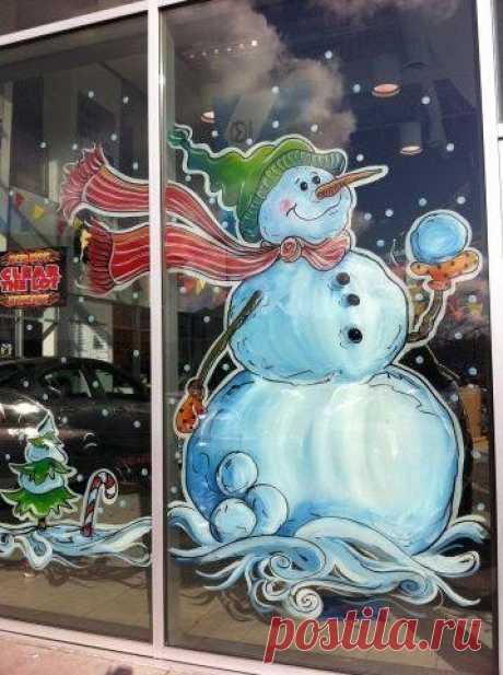 Новогодние шаблоны для росписи окон: снеговички — Сделай сам, идеи для творчества - DIY Ideas