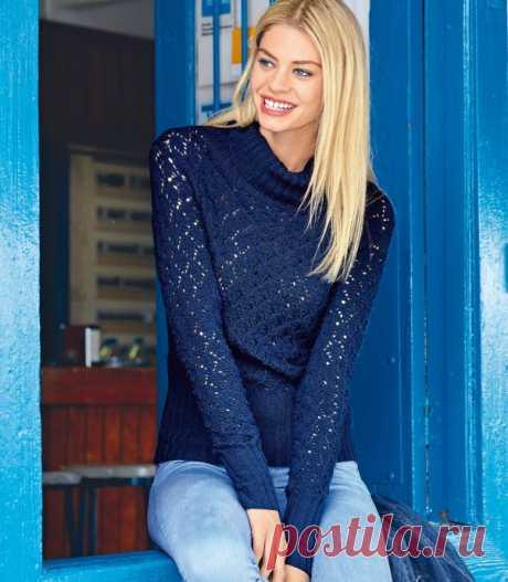 Синий свитер с ажурным узором из категории Интересные идеи – Вязаные идеи, идеи для вязания