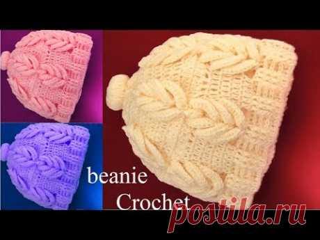 Como hacer gorros con hojas 3D tejidos a Crochet tallermanualperu