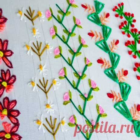 Вышиваем цветочную кайму декоративными швами. МК в видео