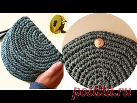 Как установить магнитный замок в вязаную крючком сумку