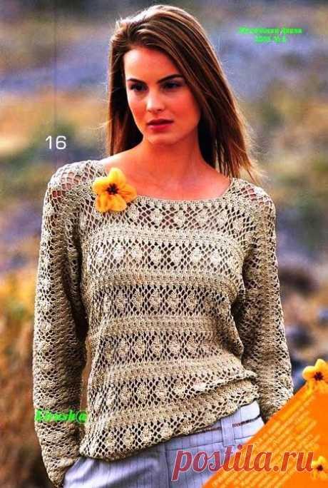 Нарядный пуловер крючком - свободно и непринужденно.
