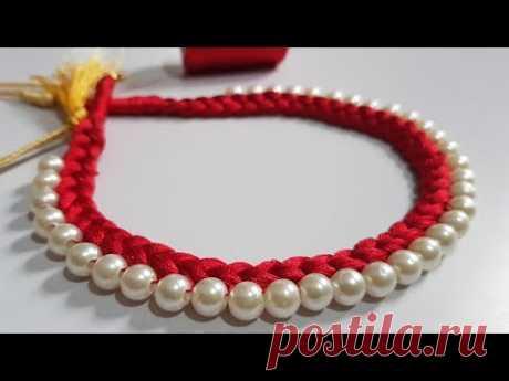 Beautiful Silk Thread & Pearl Necklace || DIY Handmade Necklace