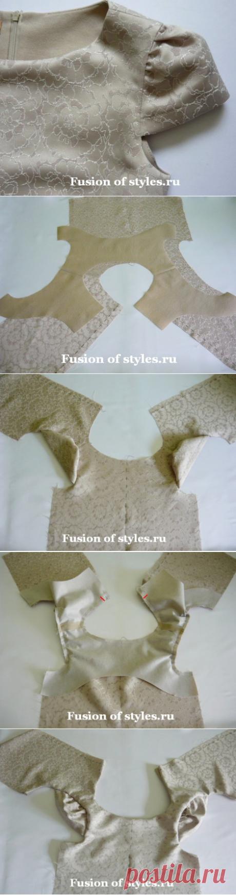 Обработка горловины и пройм лифа с рукавами - крылышками цельнокроеной обтачкой | Всё о моде, стиле, шитье и рукоделии СЛИЯНИЕ СТИЛЕЙ