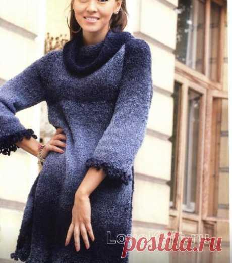 Теплое серо-синее платье схема спицами » Люблю Вязать