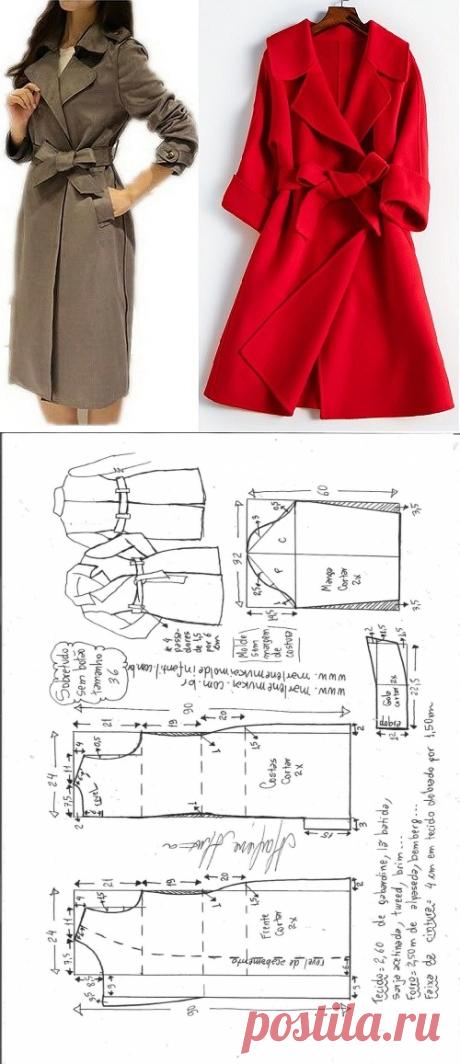 Выкройка женского пальто. Размеры евро от 36 до 56 (Шитье и крой) | Журнал Вдохновение Рукодельницы