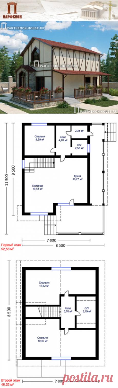 Проект небольшого дома из газобетона НД 98-6  Площадь общая: 98,60 кв.м.   Технология и конструкция: строительство дома из газобетона. Фундамент: монолитная ж/б плита. Стены: газоблоки 375 мм. Междуэтажное перекрытие: монолитное ж/б. Кровля: покрытие - металлочерепица.