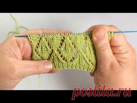 """Ажурный  """"Парус"""" / Вязание спицами / Openwork Knitting Pattern - YouTube"""