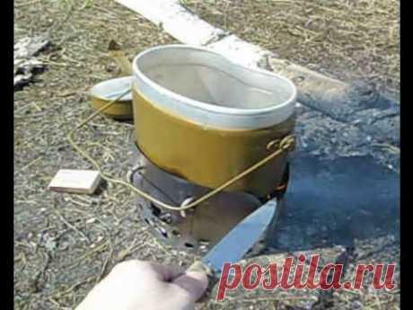 Туристическая печь для армейского котелка #3 первое испытание