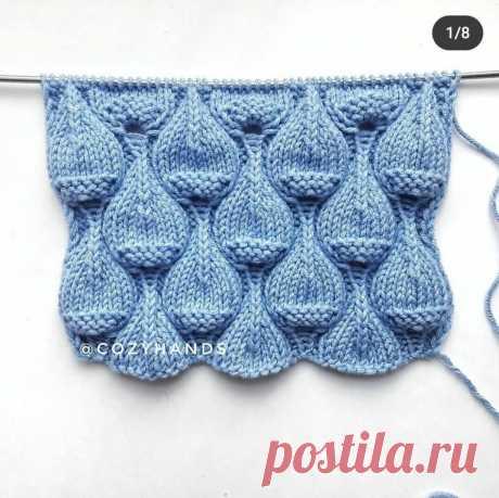 8 простых узоров для вязания спицами. Таких в моей копилке еще не было. | Вязальный дзен | Яндекс Дзен
