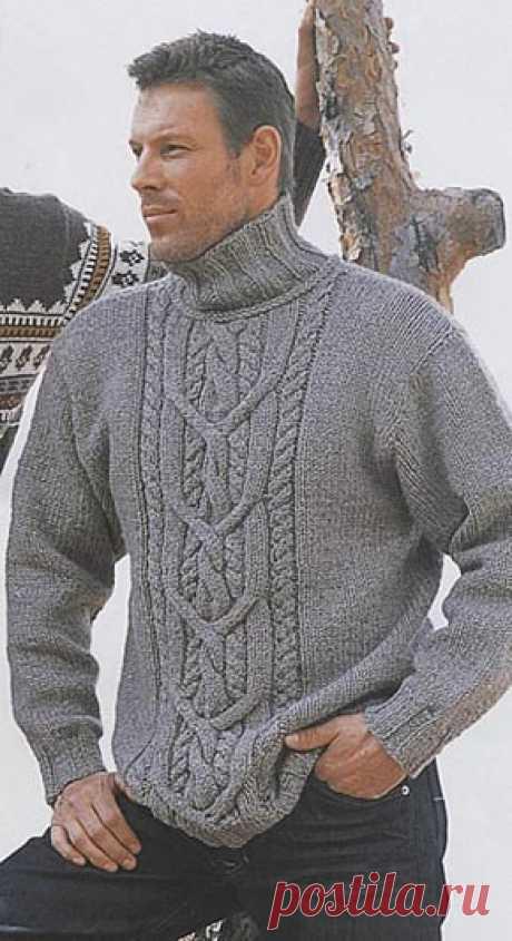Вязаный мужской свитер с аранами. Модель 17